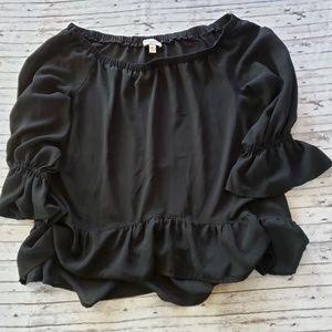 Off-Shoulder Top Bisou Bisou Blouse Black